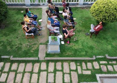 Meditation in Garden at Nepal Yoga Home