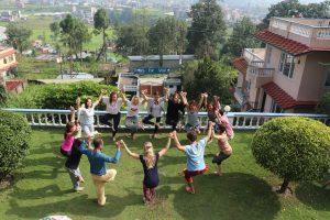 Enjoing in Yoga Home garden
