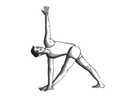 revolved triangle pose- popular asana